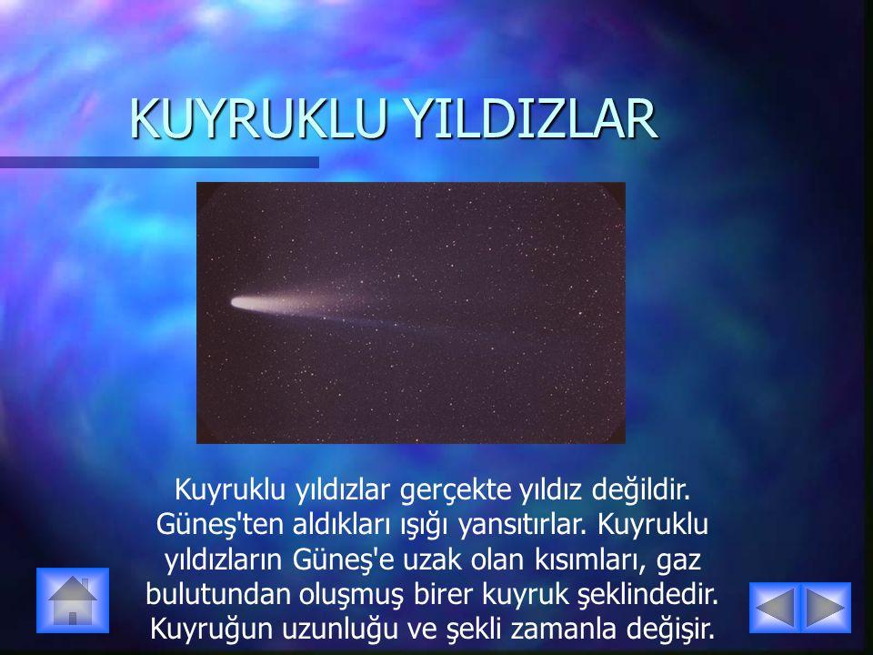 KUYRUKLU YILDIZLAR Kuyruklu yıldızlar gerçekte yıldız değildir. Güneş'ten aldıkları ışığı yansıtırlar. Kuyruklu yıldızların Güneş'e uzak olan kısımlar