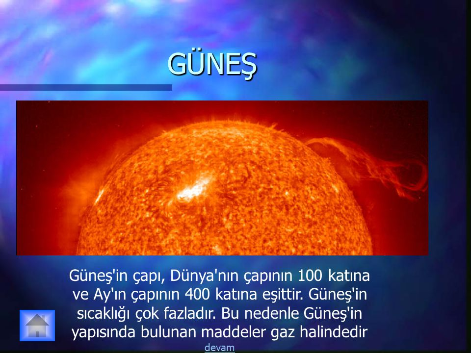 GÜNEŞGÜNEŞ Güneş'in çapı, Dünya'nın çapının 100 katına ve Ay'ın çapının 400 katına eşittir. Güneş'in sıcaklığı çok fazladır. Bu nedenle Güneş'in yapıs