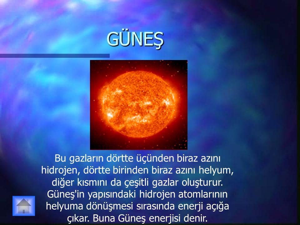 GÜNEŞGÜNEŞ Bu gazların dörtte üçünden biraz azını hidrojen, dörtte birinden biraz azını helyum, diğer kısmını da çeşitli gazlar oluşturur. Güneş'in ya
