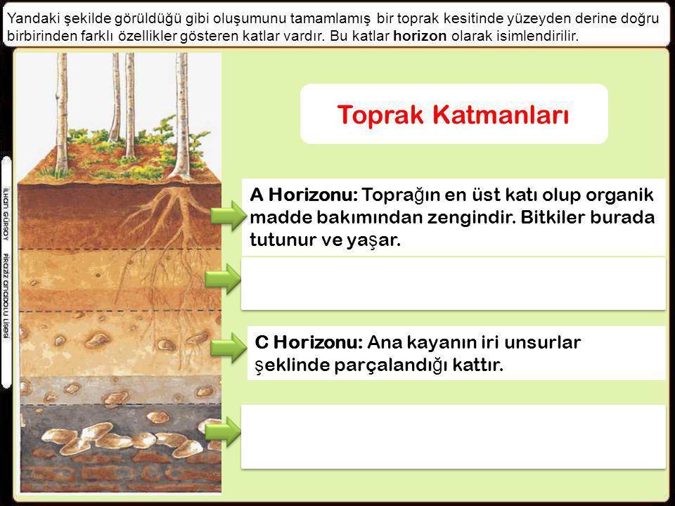 Yandaki şekilde görüldüğü gibi oluşumunu tamamlamış bir toprak kesitinde yüzeyden derine doğru birbirinden farklı özellikler gösteren katlar vardır. B