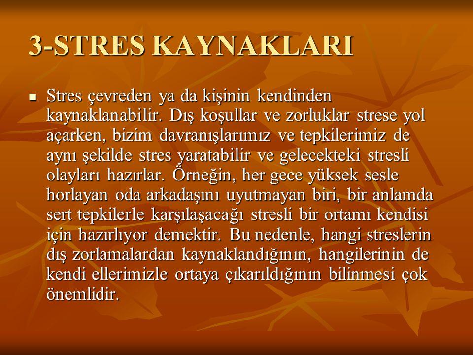 3-STRES KAYNAKLARI  Stres çevreden ya da kişinin kendinden kaynaklanabilir.