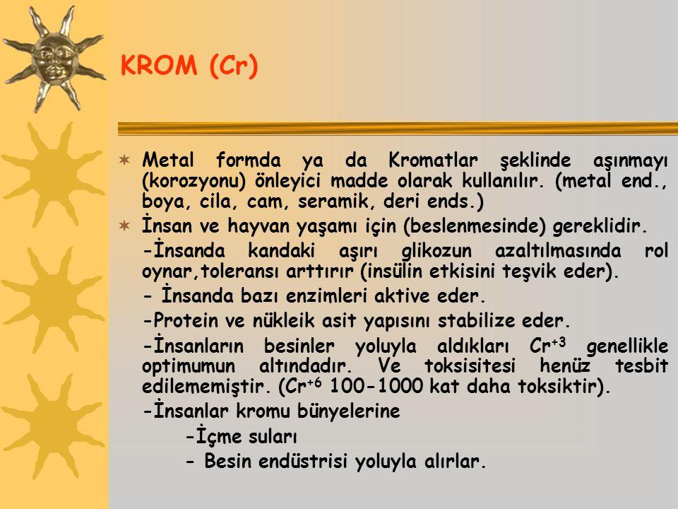 KROM (Cr)  Metal formda ya da Kromatlar şeklinde aşınmayı (korozyonu) önleyici madde olarak kullanılır. (metal end., boya, cila, cam, seramik, deri e
