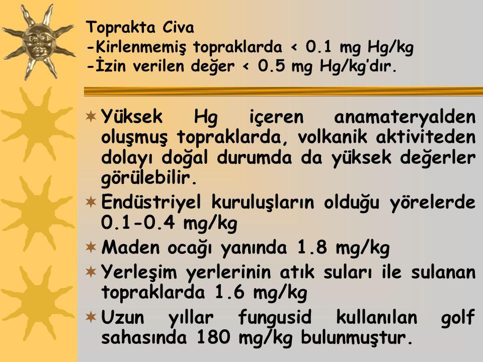 Toprakta Civa -Kirlenmemiş topraklarda < 0.1 mg Hg/kg -İzin verilen değer < 0.5 mg Hg/kg'dır.  Yüksek Hg içeren anamateryalden oluşmuş topraklarda, v