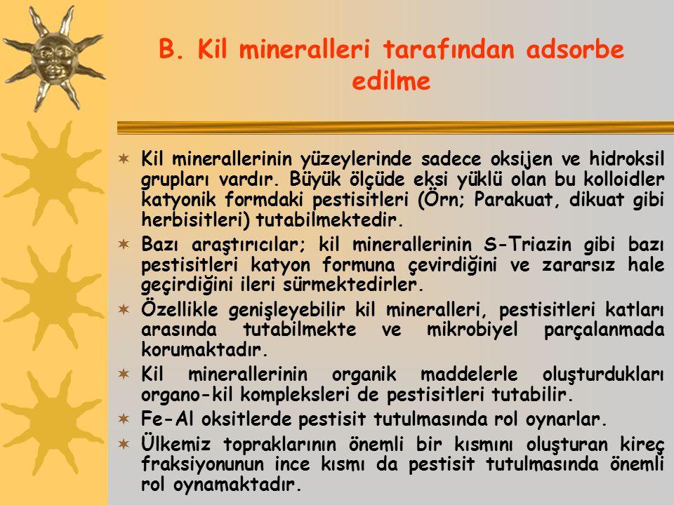 B. Kil mineralleri tarafından adsorbe edilme  Kil minerallerinin yüzeylerinde sadece oksijen ve hidroksil grupları vardır. Büyük ölçüde eksi yüklü ol