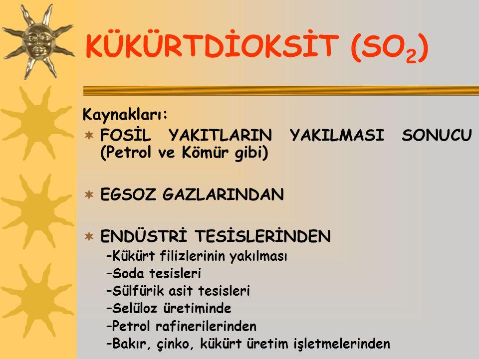 KÜKÜRTDİOKSİT (SO 2 ) Kaynakları:  FOSİL YAKITLARIN YAKILMASI SONUCU (Petrol ve Kömür gibi)  EGSOZ GAZLARINDAN  ENDÜSTRİ TESİSLERİNDEN –Kükürt fili