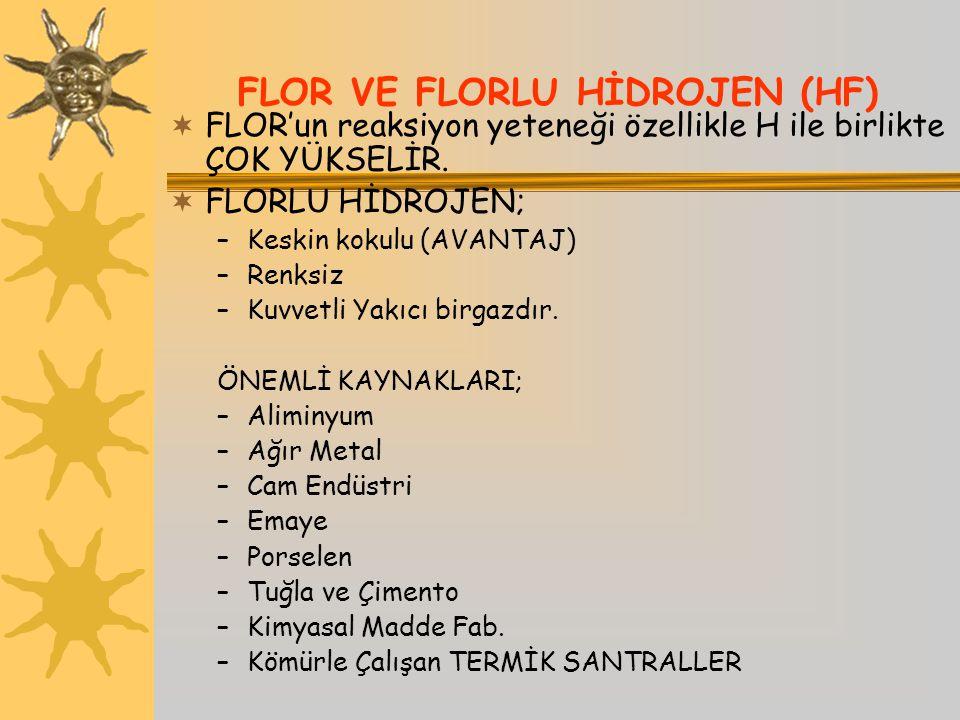 FLOR VE FLORLU HİDROJEN (HF)  FLOR'un reaksiyon yeteneği özellikle H ile birlikte ÇOK YÜKSELİR.  FLORLU HİDROJEN; –Keskin kokulu (AVANTAJ) –Renksiz