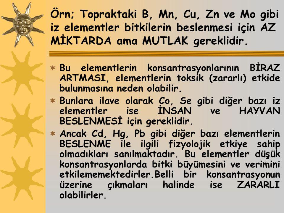 Örn; Topraktaki B, Mn, Cu, Zn ve Mo gibi iz elementler bitkilerin beslenmesi için AZ MİKTARDA ama MUTLAK gereklidir.  Bu elementlerin konsantrasyonla