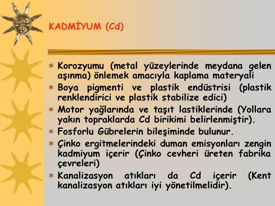 KADMİYUM (Cd)  Korozyumu (metal yüzeylerinde meydana gelen aşınma) önlemek amacıyla kaplama materyali  Boya pigmenti ve plastik endüstrisi (plastik