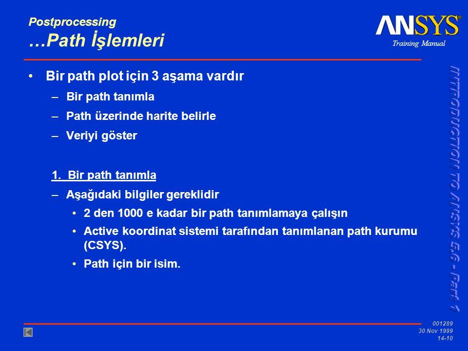 Training Manual 001289 30 Nov 1999 14-10 Postprocessing …Path İşlemleri •Bir path plot için 3 aşama vardır –Bir path tanımla –Path üzerinde harite bel