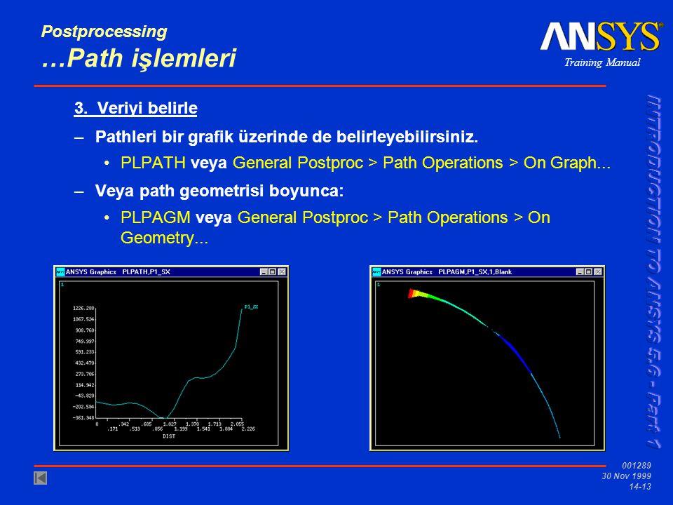 Training Manual 001289 30 Nov 1999 14-13 Postprocessing …Path işlemleri 3. Veriyi belirle –Pathleri bir grafik üzerinde de belirleyebilirsiniz. •PLPAT