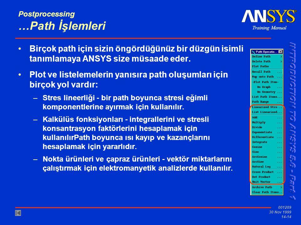 Training Manual 001289 30 Nov 1999 14-14 Postprocessing …Path İşlemleri •Birçok path için sizin öngördüğünüz bir düzgün isimli tanımlamaya ANSYS size