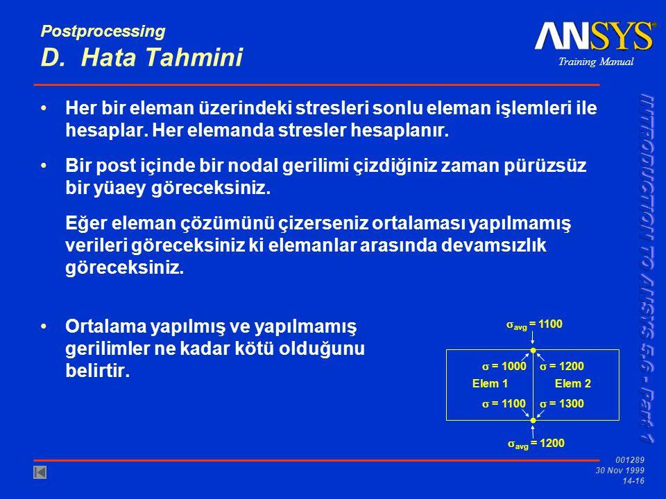 Training Manual 001289 30 Nov 1999 14-16 Postprocessing D. Hata Tahmini •Her bir eleman üzerindeki stresleri sonlu eleman işlemleri ile hesaplar. Her