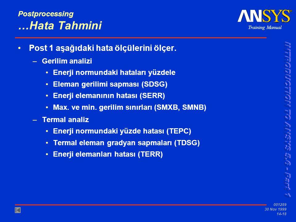 Training Manual 001289 30 Nov 1999 14-18 Postprocessing …Hata Tahmini •Post 1 aşağıdaki hata ölçülerini ölçer. –Gerilim analizi •Enerji normundaki hat