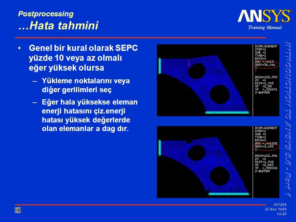 Training Manual 001289 30 Nov 1999 14-20 Postprocessing …Hata tahmini •Genel bir kural olarak SEPC yüzde 10 veya az olmalı eğer yüksek olursa –Yükleme