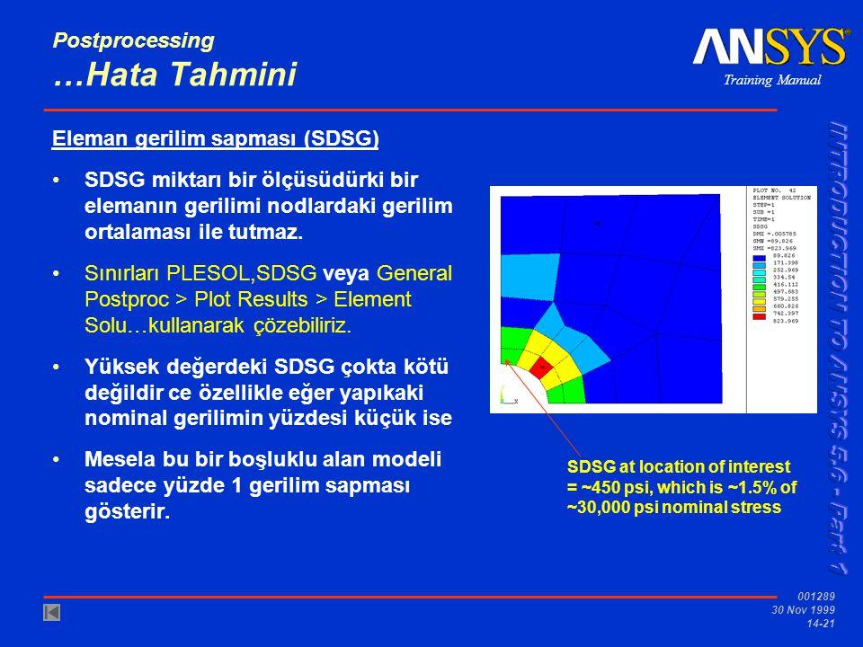 Training Manual 001289 30 Nov 1999 14-21 Postprocessing …Hata Tahmini Eleman gerilim sapması (SDSG) •SDSG miktarı bir ölçüsüdürki bir elemanın gerilim