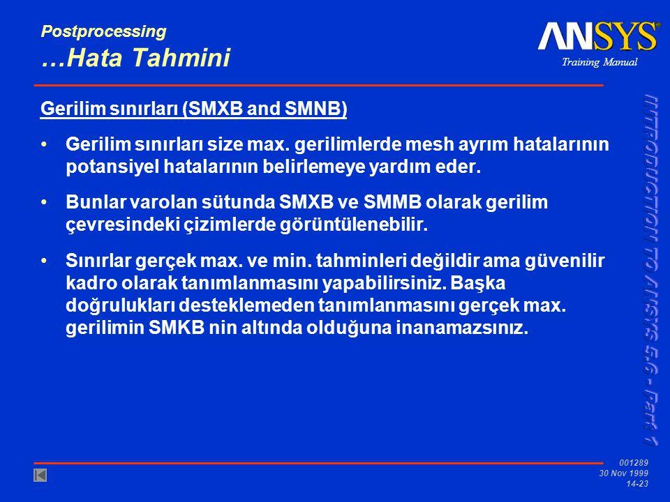 Training Manual 001289 30 Nov 1999 14-23 Postprocessing …Hata Tahmini Gerilim sınırları (SMXB and SMNB) •Gerilim sınırları size max. gerilimlerde mesh