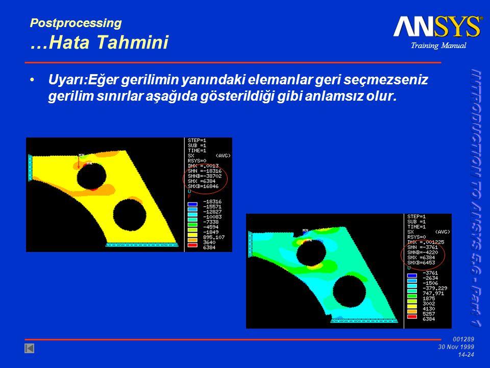Training Manual 001289 30 Nov 1999 14-24 •Uyarı:Eğer gerilimin yanındaki elemanlar geri seçmezseniz gerilim sınırlar aşağıda gösterildiği gibi anlamsı