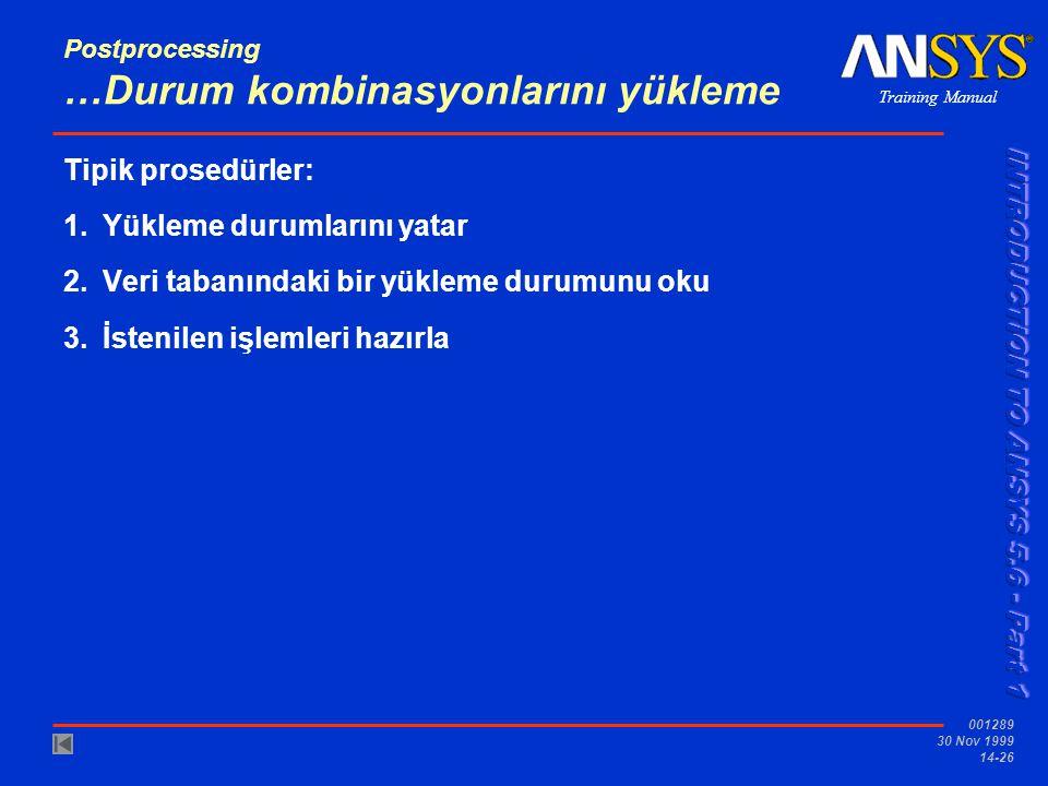 Training Manual 001289 30 Nov 1999 14-26 Postprocessing …Durum kombinasyonlarını yükleme Tipik prosedürler: 1.Yükleme durumlarını yatar 2.Veri tabanın
