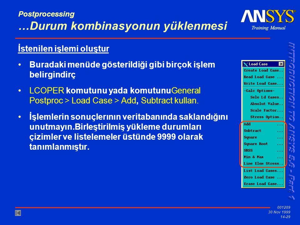 Training Manual 001289 30 Nov 1999 14-29 Postprocessing …Durum kombinasyonun yüklenmesi İstenilen işlemi oluştur •Buradaki menüde gösterildiği gibi bi