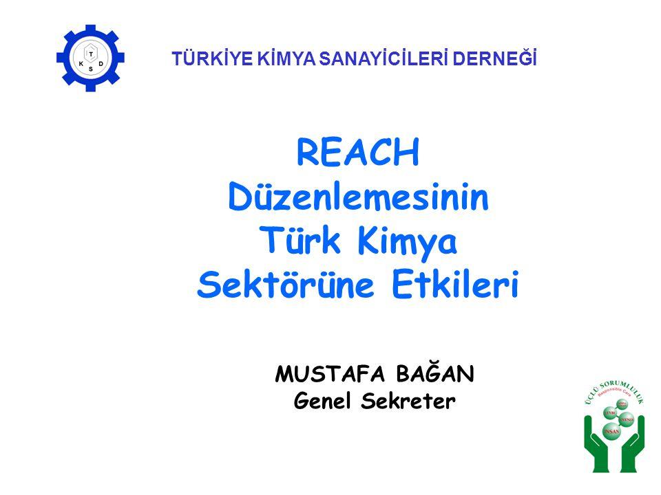 TÜRKİYE KİMYA SANAYİCİLERİ DERNEĞİ MUSTAFA BAĞAN Genel Sekreter REACH Düzenlemesinin Türk Kimya Sektörüne Etkileri