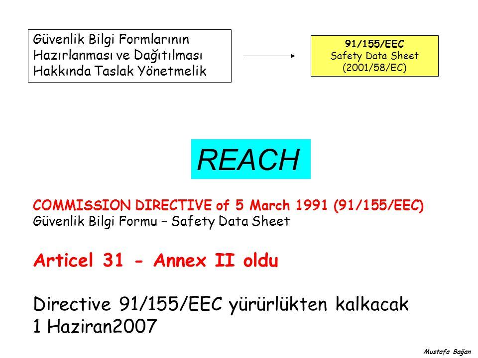 Güvenlik Bilgi Formlarının Hazırlanması ve Dağıtılması Hakkında Taslak Yönetmelik 91/155/EEC Safety Data Sheet (2001/58/EC) COMMISSION DIRECTIVE of 5 March 1991 (91/155/EEC) Güvenlik Bilgi Formu – Safety Data Sheet REACH Articel 31 - Annex II oldu Directive 91/155/EEC yürürlükten kalkacak 1 Haziran2007 Mustafa Bağan
