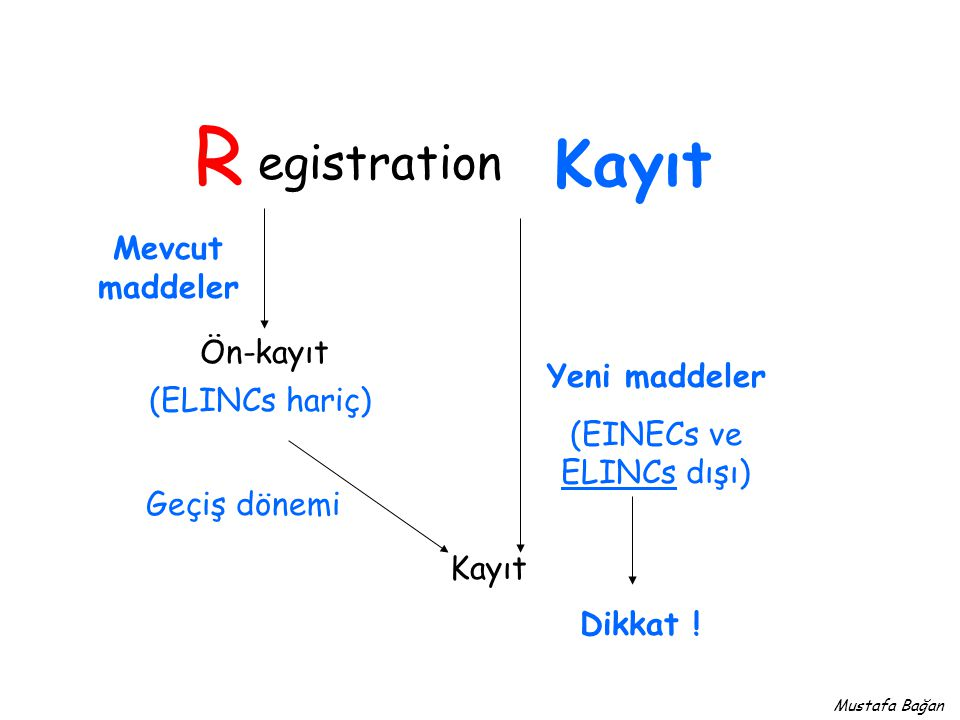 egistration R Kayıt Ön-kayıt Kayıt Mevcut maddeler Yeni maddeler (EINECs ve ELINCs dışı) Geçiş dönemi (ELINCs hariç) Dikkat .