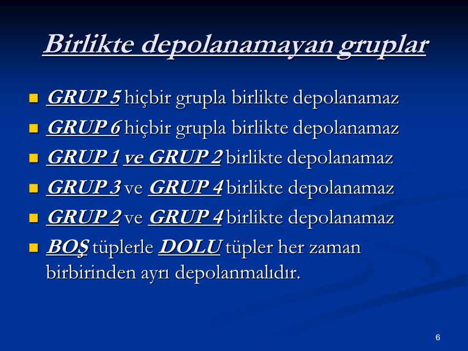 6 Birlikte depolanamayan gruplar  GRUP 5 hiçbir grupla birlikte depolanamaz  GRUP 6 hiçbir grupla birlikte depolanamaz  GRUP 1 ve GRUP 2 birlikte d