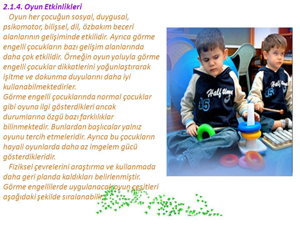 2.1.4. Oyun Etkinlikleri Oyun her çocuğun sosyal, duygusal, psikomotor, bilişsel, dil, özbakım beceri alanlarının gelişiminde etkilidir. Ayrıca görme