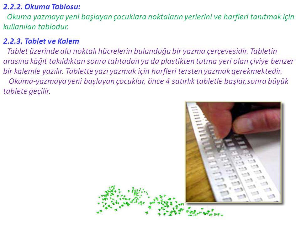 2.2.2. Okuma Tablosu: Okuma yazmaya yeni başlayan çocuklara noktaların yerlerini ve harfleri tanıtmak için kullanılan tablodur. 2.2.3. Tablet ve Kalem