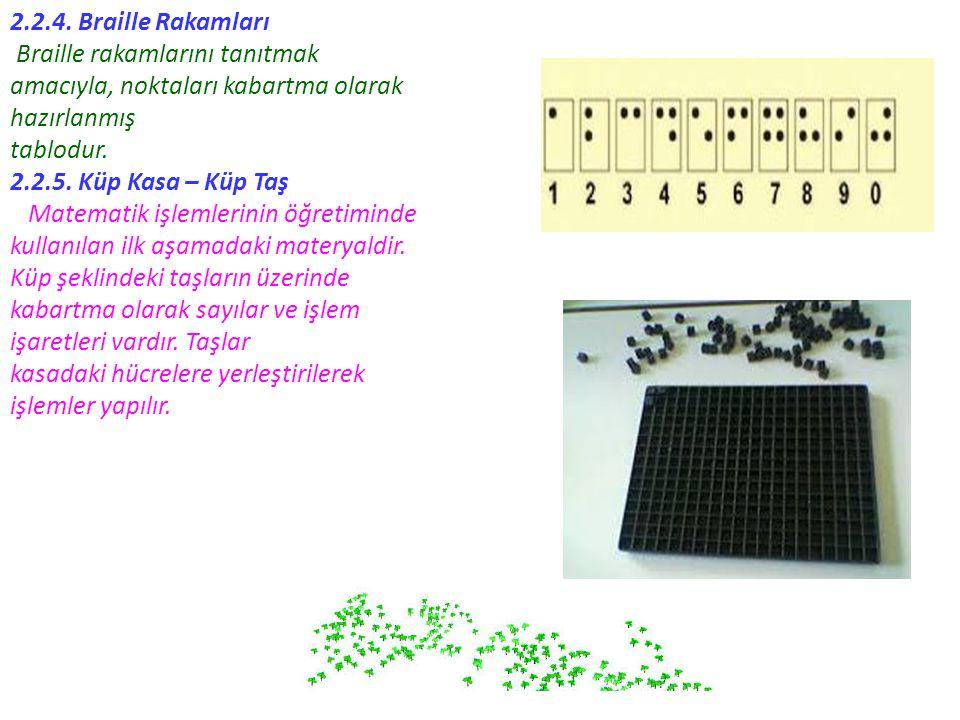 2.2.4. Braille Rakamları Braille rakamlarını tanıtmak amacıyla, noktaları kabartma olarak hazırlanmış tablodur. 2.2.5. Küp Kasa – Küp Taş Matematik iş