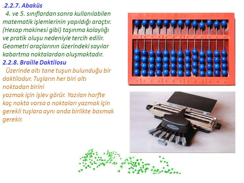 .2.2.7. Abaküs 4. ve 5. sınıflardan sonra kullanılabilen matematik işlemlerinin yapıldığı araçtır. (Hesap makinesi gibi) taşınma kolaylığı ve pratik o