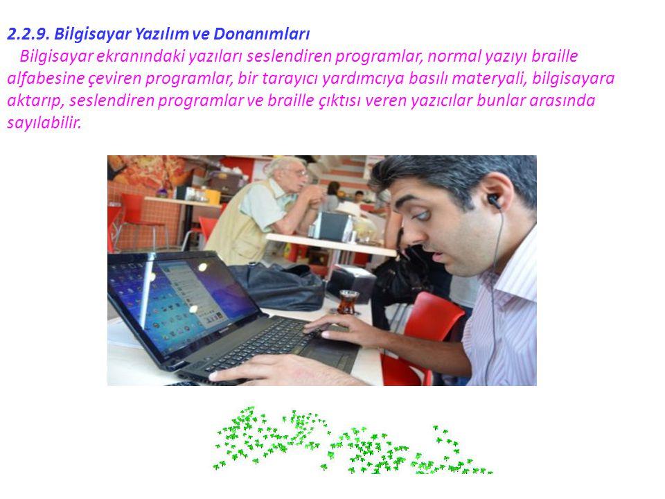 2.2.9. Bilgisayar Yazılım ve Donanımları Bilgisayar ekranındaki yazıları seslendiren programlar, normal yazıyı braille alfabesine çeviren programlar,