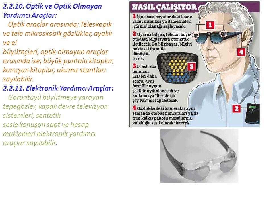 2.2.10. Optik ve Optik Olmayan Yardımcı Araçlar: Optik araçlar arasında; Teleskopik ve tele mikroskobik gözlükler, ayaklı ve el büyüteçleri, optik olm
