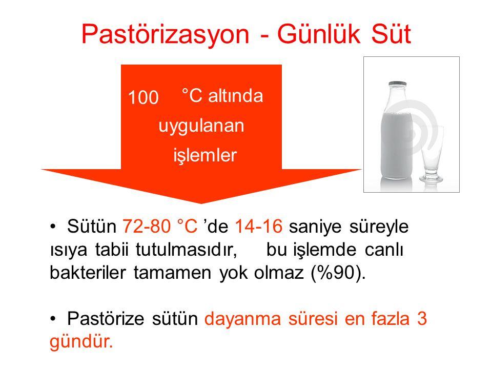 Pastörizasyon - Günlük Süt • Sütün 72-80 °C 'de 14-16 saniye süreyle ısıya tabii tutulmasıdır, bu işlemde canlı bakteriler tamamen yok olmaz (%90). •