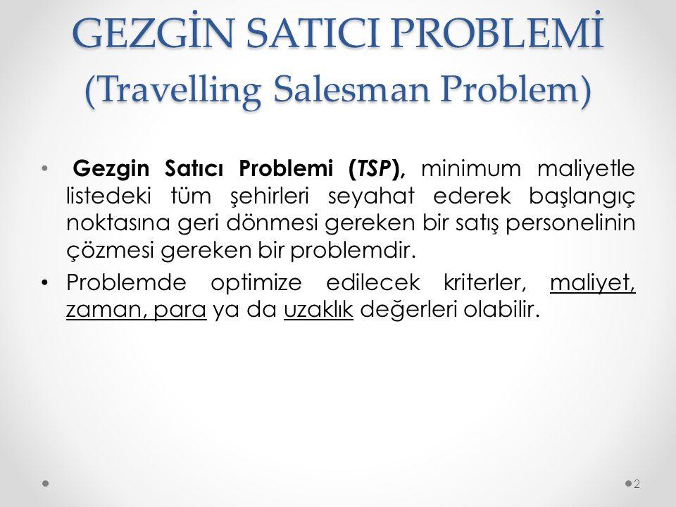 GEZGİN SATICI PROBLEMİ (Travelling Salesman Problem) • Gezgin Satıcı Problemi ( TSP ), minimum maliyetle listedeki tüm şehirleri seyahat ederek başlangıç noktasına geri dönmesi gereken bir satış personelinin çözmesi gereken bir problemdir.