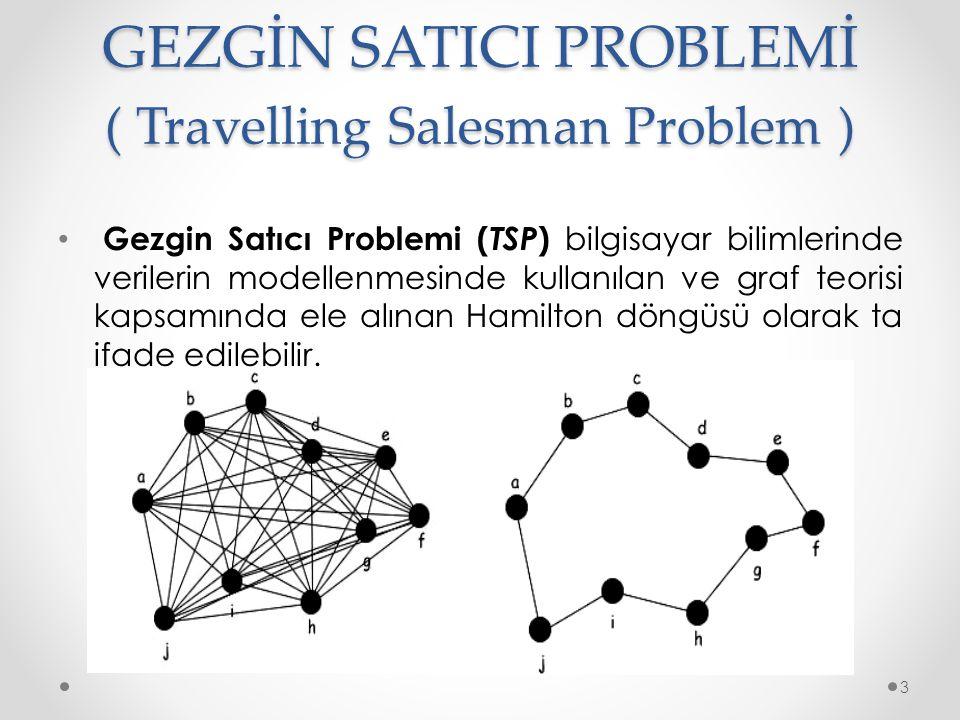 GEZGİN SATICI PROBLEMİ ( Travelling Salesman Problem ) • Gezgin Satıcı Problemi ( TSP ) bilgisayar bilimlerinde verilerin modellenmesinde kullanılan ve graf teorisi kapsamında ele alınan Hamilton döngüsü olarak ta ifade edilebilir.