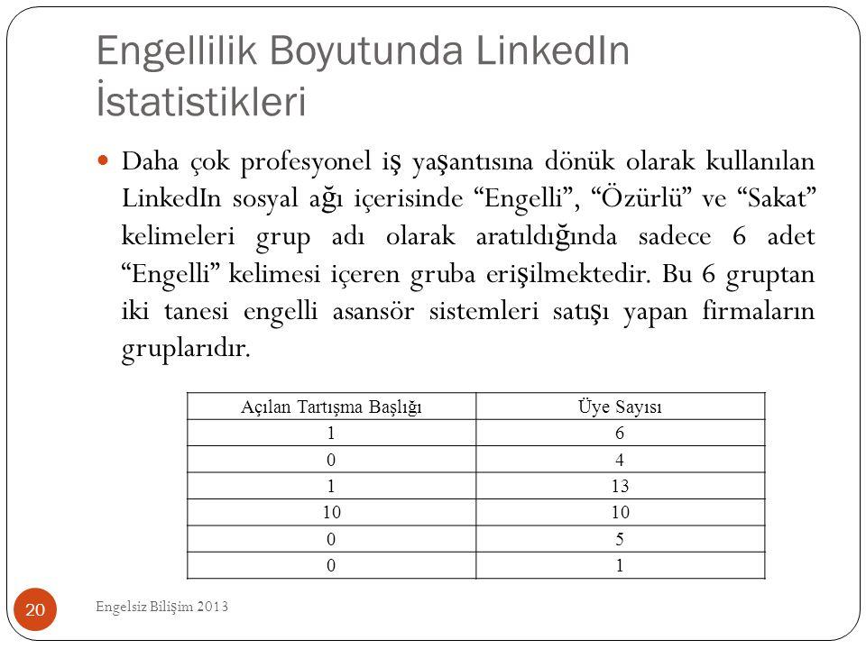 Engellilik Boyutunda LinkedIn İstatistikleri Engelsiz Bili ş im 2013 20  Daha çok profesyonel i ş ya ş antısına dönük olarak kullanılan LinkedIn sosy