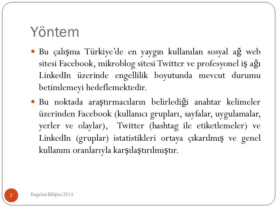 Yöntem Engelsiz Bili ş im 2013 7  Bu çalı ş ma Türkiye'de en yaygın kullanılan sosyal a ğ web sitesi Facebook, mikroblog sitesi Twitter ve profesyone