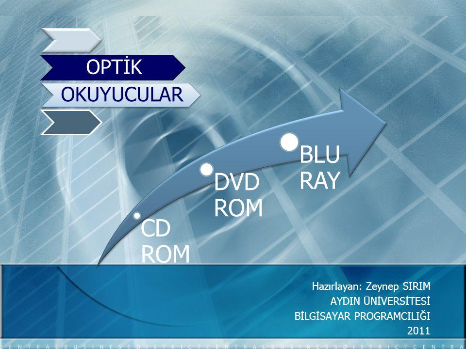 CD ROM DVD ROM BLU RAY Hazırlayan: Zeynep SIRIM AYDIN ÜNİVERSİTESİ BİLGİSAYAR PROGRAMCILIĞI 2011 OPTİK OKUYUCULAR