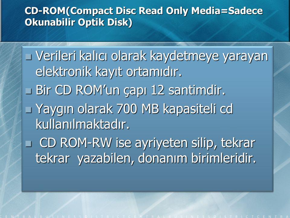 CD-ROM(Compact Disc Read Only Media=Sadece Okunabilir Optik Disk)  Verileri kalıcı olarak kaydetmeye yarayan elektronik kayıt ortamıdır.  Bir CD ROM