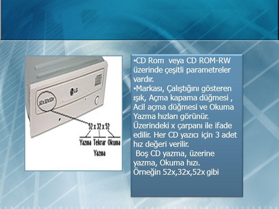 • CD Rom veya CD ROM-RW üzerinde çeşitli parametreler vardır. • Markası, Çalıştığını gösteren ışık, Açma kapama düğmesi, Acil açma düğmesi ve Okuma Ya