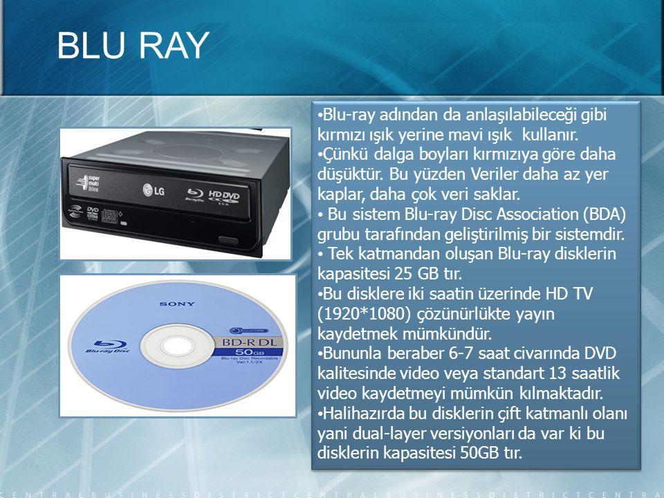 • Blu-ray adından da anlaşılabileceği gibi kırmızı ışık yerine mavi ışık kullanır. • Çünkü dalga boyları kırmızıya göre daha düşüktür. Bu yüzden Veril