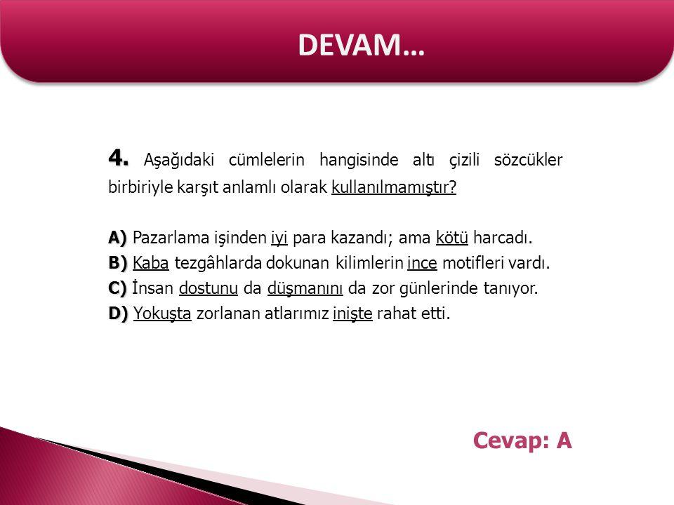 DEVAM… 4. 4. Aşağıdaki cümlelerin hangisinde altı çizili sözcükler birbiriyle karşıt anlamlı olarak kullanılmamıştır? A) A) Pazarlama işinden iyi para