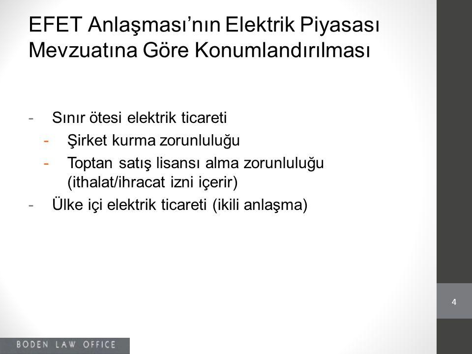 EFET Anlaşması'nın Elektrik Piyasası Mevzuatına Göre Konumlandırılması -Sınır ötesi elektrik ticareti -Şirket kurma zorunluluğu -Toptan satış lisansı