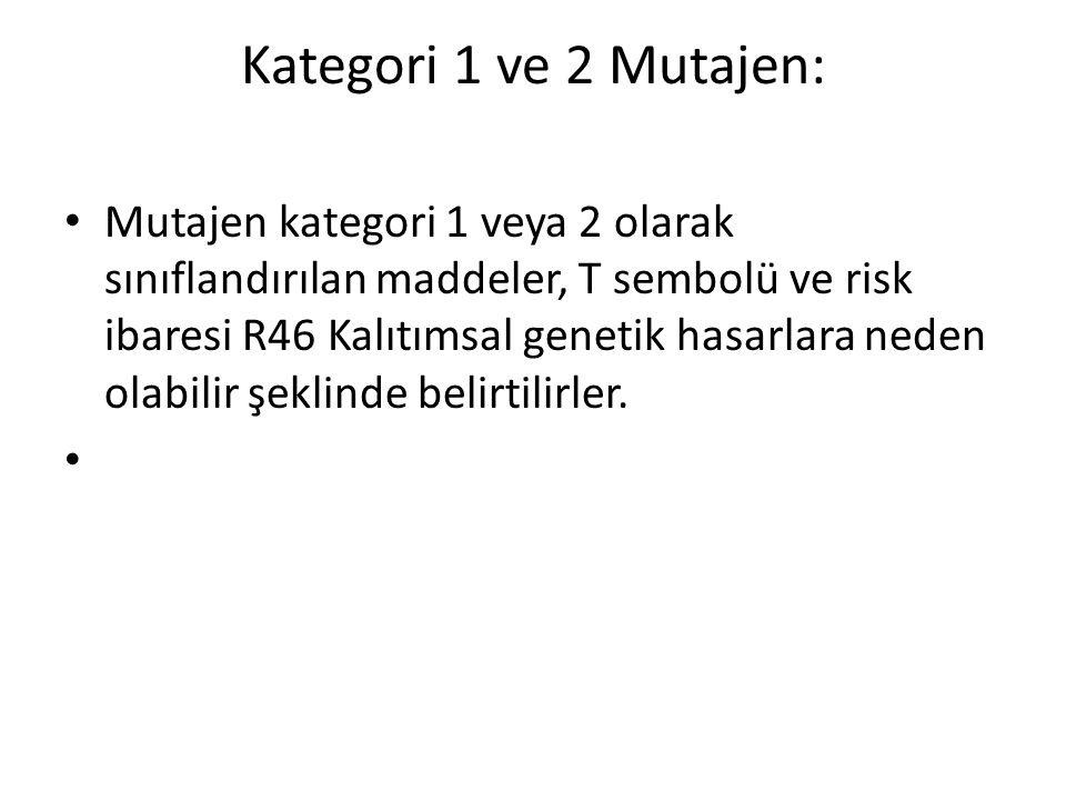 Kategori 1 ve 2 Mutajen: • Mutajen kategori 1 veya 2 olarak sınıflandırılan maddeler, T sembolü ve risk ibaresi R46 Kalıtımsal genetik hasarlara neden olabilir şeklinde belirtilirler.