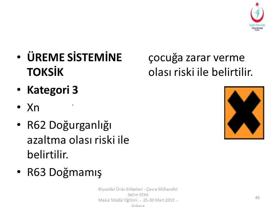• ÜREME SİSTEMİNE TOKSİK • Kategori 3 • Xn • R62 Doğurganlığı azaltma olası riski ile belirtilir. • R63 Doğmamış çocuğa zarar verme olası riski ile be