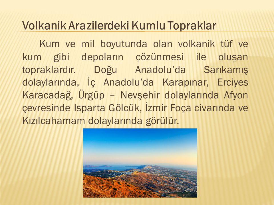 Volkanik Arazilerdeki Kumlu Topraklar Kum ve mil boyutunda olan volkanik tüf ve kum gibi depoların çözünmesi ile oluşan topraklardır. Doğu Anadolu'da