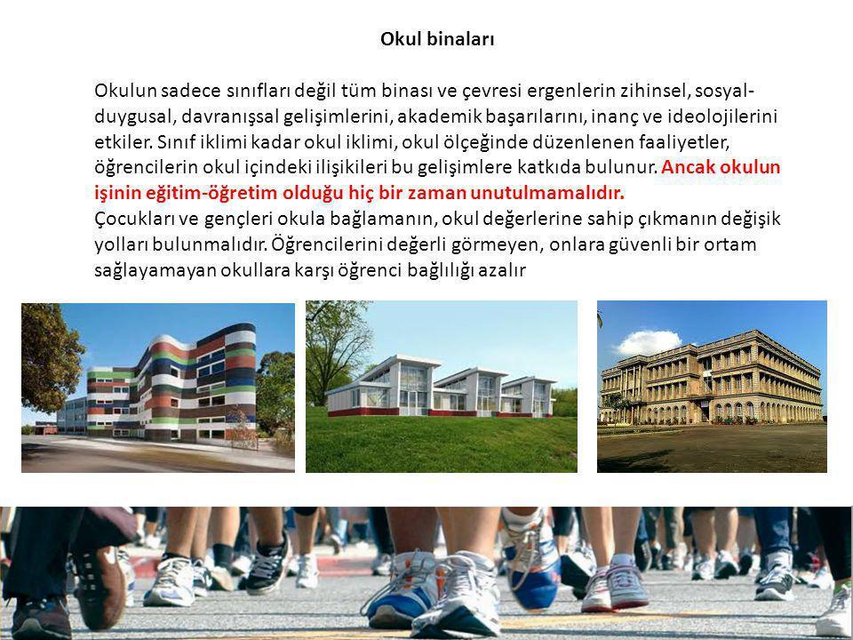 Okul binaları Okulun sadece sınıfları değil tüm binası ve çevresi ergenlerin zihinsel, sosyal- duygusal, davranışsal gelişimlerini, akademik başarılar