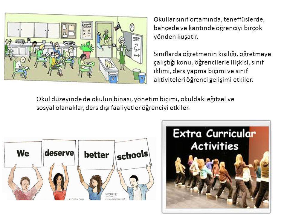 Okullar sınıf ortamında, teneffüslerde, bahçede ve kantinde öğrenciyi birçok yönden kuşatır. Sınıflarda öğretmenin kişiliği, öğretmeye çalıştığı konu,
