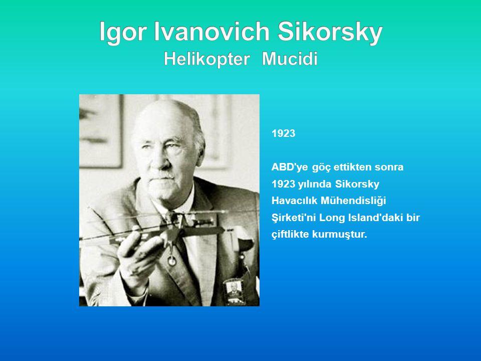 1923 ABD'ye göç ettikten sonra 1923 yılında Sikorsky Havacılık Mühendisliği Şirketi'ni Long Island'daki bir çiftlikte kurmuştur.
